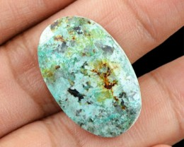 Genuine 15.70 Cts Turquoise Oval Checkered Cut Cab