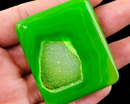 Genuine 151.70 Cts Green Druzy Cab