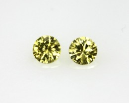 0.43cts Round Matching Pair Natural Yellow Sapphires 2pcs Beautiful Accent