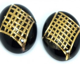 BLACK ONYX CARVING PAIR16 CTS ADG-1598