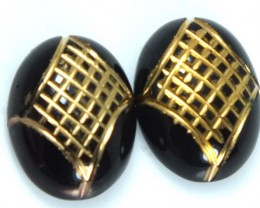 BLACK ONYX CARVING PAIR 17 CTS ADG-1599