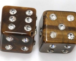 62 CTS TIGER EYE DICE STUDDED Crystal STONE (2PCS) NP-1879