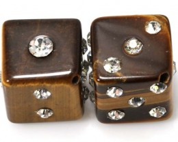 60 CTS TIGER EYE DICE STUDDED CZ STONE (2PCS) NP-1882