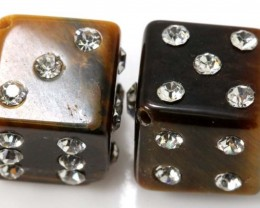 62 CTS TIGER EYE DICE STUDDED CZ STONE (2PCS) NP-1883