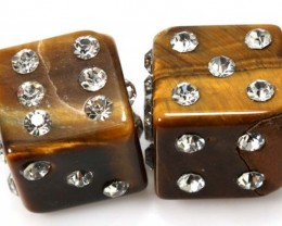 59 CTS TIGER EYE DICE STUDDED CZ STONE (2PCS) NP-1884