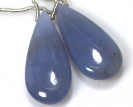 24 CTS CHALCEDONY DROPS PAIR DRILLED NP-1886