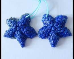 Starfish Carving ~ 56.25Ct Natural LapisLazuli Gemstone Earring BEADS