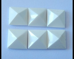 6 PCS Natural White Agate Gemstone Pyramids,35CT