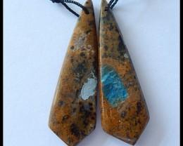 34.5Ct Natural Petrified Wood Jasper Earring Beads