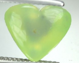 7.04 Cts Natural Mint Green Prehenite Heart Cabochon Guinea Gem