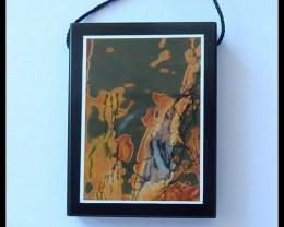 69.5Ct Natural Multi Color Picasso Jasper ,Black Jasper Intarsia PENDANT BE