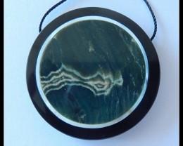 78.5CT Natural Ocean Jasper,Black Jasper Intarsia Pendant Bead(B1804290)