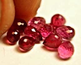 7.35 Tcw. Ruby Briolettes (undrilled) - 10 Pcs.