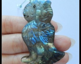 123.9 Ct Natural Labradorite Gemstone Owl Carvcing Pendant Bead