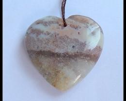 30.5Ct Natural Ocean Jasper Heart Pendant Bead