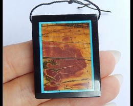67.5Ct Multi Color Picasso Jasper,Black Jasper Intarsia Pendant Bead(B18043