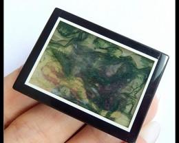 Beautiful Grass! ~ 97.5CT Natural Moss Agate,Black Jasper Intarsia Pendant