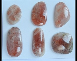 Gemstone Parcel,6 PCS Natural Sunstone Gemstone Cabochons