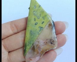 98.5 Ct Natural Pink Opal,Serpentine Intarsia Pendant Bead(B1804299)