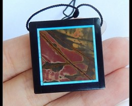 46.5Ct Natural Multi Color Picasso Jasper,Black Jasper Intarsia Pendant Bea