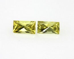 0.55cts Matching Pair Natural Yellow Baguette Sapphires