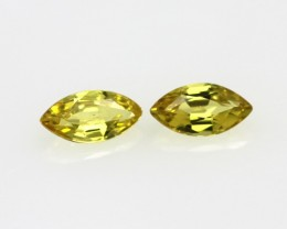 0.65cts Matching Pair Natural Yellow Marquise Sapphires