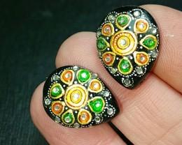 reserved19mm pair Black onyx gold enameled drop pear heart shape gemstones