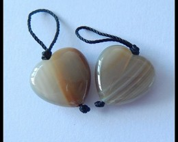 18CT Heart Natural Agate Earring Beads