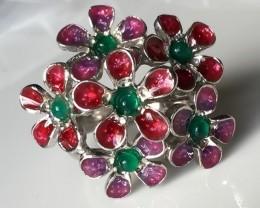 Sz 7.5 Incredibly Beautiful Aventurine Flower Enamel Ring - Oh!
