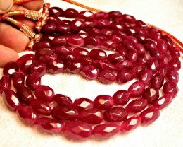 687.7 Tcw. Three Strand Adjustable Ruby Necklace