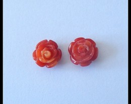 3Ct Natural Bamboo Coral Flower Carving Pair