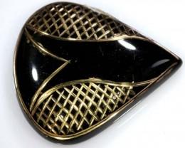 41 CTS BLACK ONYX 24K GOLD ENGRAVED TBG-2369