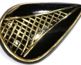15 CTS BLACK ONYX 24K GOLD ENGRAVED TBG-2370