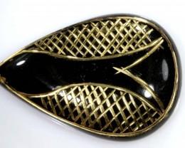 37 CTS BLACK ONYX 24K GOLD ENGRAVED TBG-2371