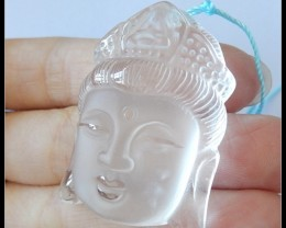 114.5Ct Crystal Quartz Buddha Head Carving Pendant Bead