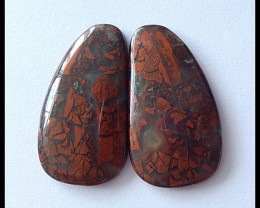 44Ct Natural African Red Jasper Cabochon Pair