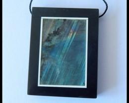 88.5Ct Natural Labradorite Gemstone,Obsidian Intarsia Pendant Bead