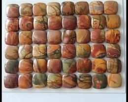 48 PCS Natural Multi Color Picasso Jasper Cabochons Parcel,200 ct