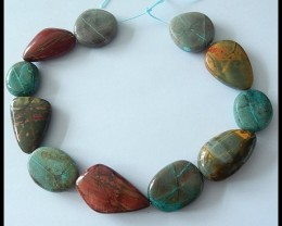 473Ct Natural Chrysocolla,Multi Color Picasso Jasper Freeform Beads Strand