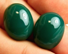 30.73 Tcw. Matching Green African Agate Cabochons