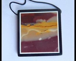 60Ct Natural Mookaite Jasper,Black Jasper Intarsia Pendant Bead(B1804260)