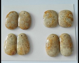 4 PAIRS Natural Coral Bead Pair,125.5CT