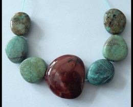 267.5Ct Natural Chrysocolla, Picasso Jasper Freeform Beads Strand