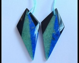 27.3Ct Natural Amazonite,Obsidian,Lapis Intarsia Earring Beads