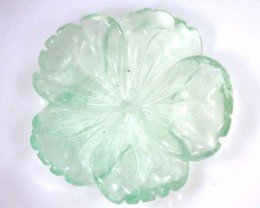 22.50 cts PREHNITE FLOWER CARVING DRILLED TBG-2394