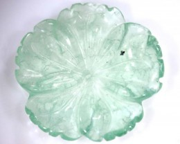 21.75 cts PREHNITE FLOWER CARVING DRILLED TBG-2395