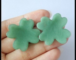 52.5Ct Natural Green Aventurine Gemstone Lucky Clover  Pair