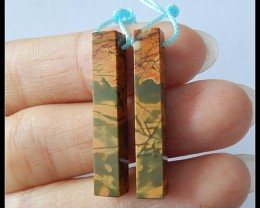 19.5Ct Natural Multi Color Picasso Jasper Earring Beads Pair