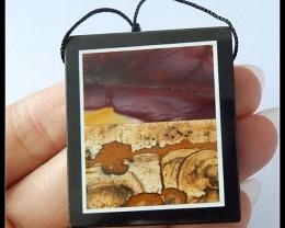130Ct Natural Mookaite Jasper,Black Jasper Intarsia Pendant Bead