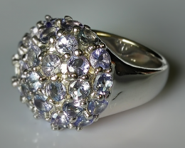 64ct Sparkling Tanzanite Sterling Silver Ring size 8 Brand New